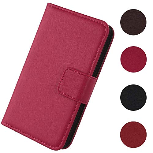 Lankashi Flip Premium Echt Leder Tasche Hülle Für Doro Liberto 820 Mini Lederhülle Handyhülle Schutzhülle Klapphülle Handytasche Handy Schale Etui Brieftasche Wallet Cover Hülle (Rosa)