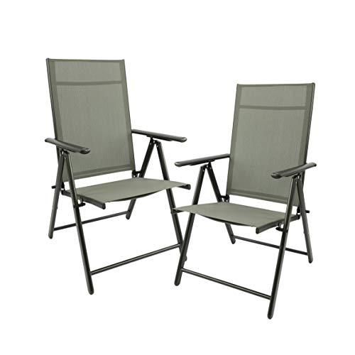 MaxxGarden Set di 2 sedie pieghevoli da giardino, da campeggio, da giardino, terrazza, balcone, sedia pieghevole in alluminio e plastica, argento/grigio