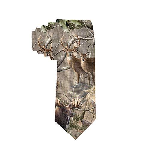 Elegante corbata fina elegante para hombres y adolescentes uso diario (erizo de gato) Caza de camuflaje, ciervo, oso de pescado Talla única