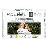 Eco by Naty Pañales, Talla/Tamaño 1, 100 unidades, 2-5 kg, suministro para UN MES, Pañal ecológico Premium hecho a base de fibras vegetales 0% plásticos derivados del petróleo en contacto con la piel