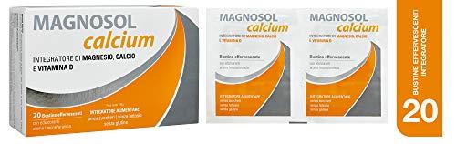 Magnosol Calcium Integratore Alimentare Di Magnesio, Calcio E Vitamina D, 20 Bustine, 30 gr
