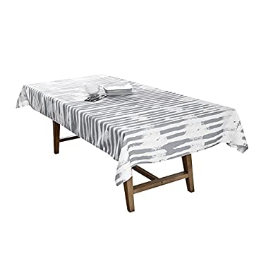 BottleCloth Mod Stripe Premium Tablecloth - Superior Quality, Easy Clean, Spill Resistant, and Washable. Made from 100% Recycled Materials. Assorted colors and sizes. (60  x 60  Square-Ash)