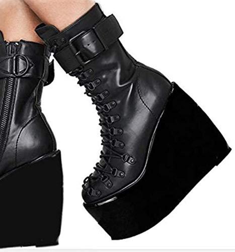 JJZZ Hohe Plattform Mitte Calf Wedge Chunky High Heels Frauen Round Toe Side Zipper Kampfstiefel Plattform-Keil-Absatz-Low-Top Boots 40-43,Schwarz,39