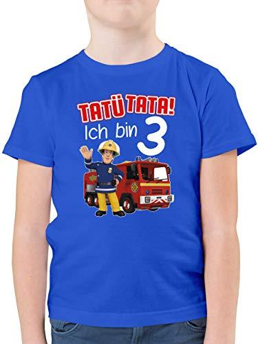 Feuerwehrmann Sam Jungen - Tatü Tata! Ich Bin 3 - rot - 128 (7/8 Jahre) - Royalblau - Feuerwehr sam deko Kindergeburtstag - F130K - Kinder Tshirts und T-Shirt für Jungen