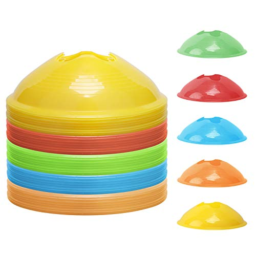 Kevenz Soccer disc Cones,More Thicker, More flexible,Multi Color Cone for Agility Training, Soccer, Football, Kids, Field Marker(50-Pack,Red,Blue,Orange,Yellow,Green)