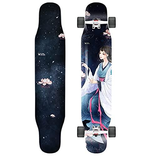 VOMI Skateboard con Rodamientos Bolas Silencioso de Alta Velocidad, Longboard de 4 Ruedas para Principiantes, Adultos, Niños, Monopatín Completo de Madera de Bambú y Arce, 114 * 23,5cm,B