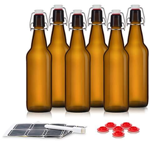 Swing Top Glass Bottles - Flip Top Bottles For Kombucha, Kefir, Beer - Amber Color - 16oz Size - Set of 6 Brewing Bottles - Leak Proof With Easy Caps - Includes labels and water base LED Ink pen