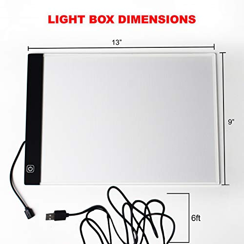 Picture/Perfect Best Light Box for Tracing - Ultra Thin Portable LED Light Pad with Advanced Filter to Prevent Eye Fatigue, Plus Tracing Paper and Clamp, A4 9x13 Inch Table with Hi-Mid-Low Brightness