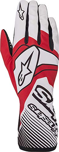 Alpinestars Tech 1-K Race V2 - Guantes para patinaje, Glove, blanco/rojo, small