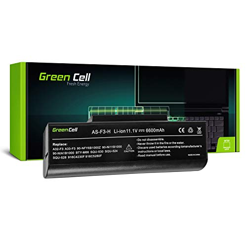 Green Cell Extended Serie A32 F3 Laptop Akku fur ASUS F3 F3E F3F F3J F3K F3S F3SG F3T F3U M51 9 Zellen 6600mAh 111V Schwarz