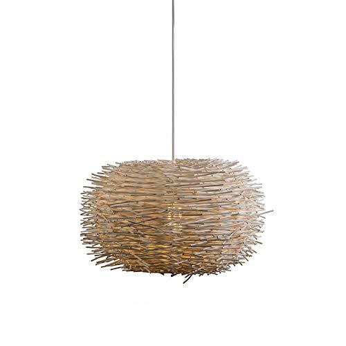 QAZQA Design/Modern Rural Hängelampe weiß Rattan - Hatch 45 / Innenbeleuchtung/Wohnzimmerlampe/Schlafzimmer/Küche Holz/Metall Rund LED geeignet E27 Max. 1 x 60 Watt