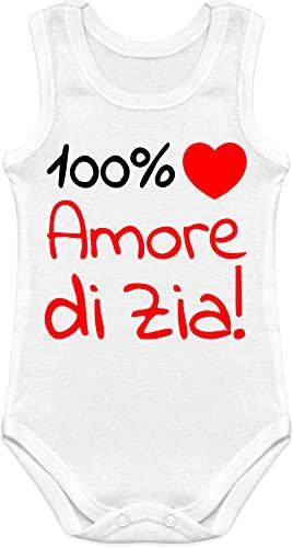 Body para bebé con diseño de cariño y texto en inglés 'Love di Zia', de manga corta y manga larga Body sin mangas Zia blanco 6-9 Meses