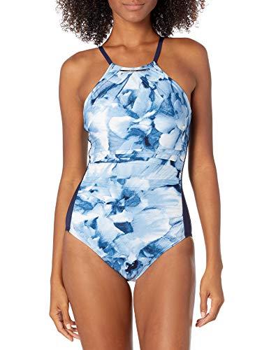 Calvin Klein Damen One Piece Halter Swimsuit with Removable Soft Cups Badeanzug, Deep Sea, 40
