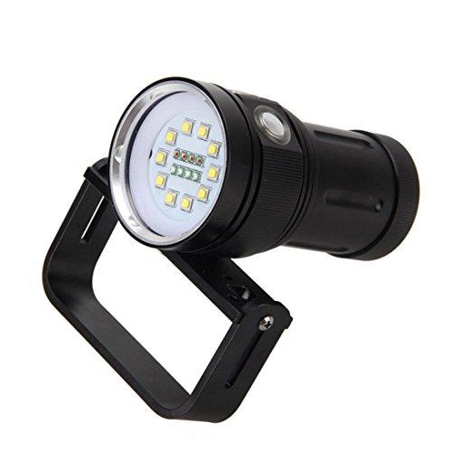LED Lampe De Poche Puissante zycShang Torche 10x XM-L2 + 4X R + 4X B 12000LM LED Lampe Torche De Plongée 80 Conduit La LumièRe sous l'eau Ipx8 PlongéE Torche Lampe éTanches Photographie