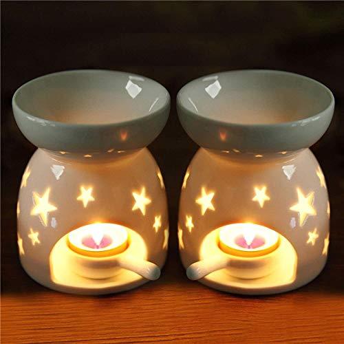 Ecosides Juego de 2 quemadores de aceite cerámica con cuchara de vela,velas de té de porcelana para derretir quemadores, aromaterapia,difusor de aceites esenciales,soporte de velas,dormitorio,blanco