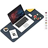 Mouse Pad, Desk Mat, Large Leather Desk Pad, Dual-Sided PU pad Waterproof Mouse Pad for Laptop, Office Table Protector Blotter Gifts 23.6'x13.7' Navy Blue & Orange