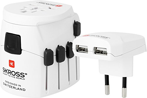 SKROSS PRO World + USB - Reiseadapter inklusive USB-Ladeport (2400 mA)