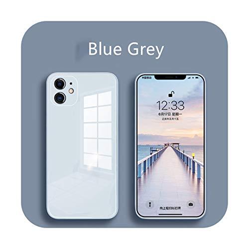 Carcasa de cristal líquido para iPhone 12 11 Pro X XS Max XR SE2 7 8 Plus resistente a los arañazos y caídas colorido contraportada de protección de la carcasa azul gris-para iPhone 11