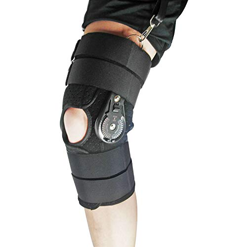 Mowane Hinged Knee Brace, Post Op ROM Knee Support with Side Stabilizer Locking for ACL PCL Meniscal Tendon Repair Injury Hyperextension Recovery Orthopedic Rehab, Open Patella for Men, Women (PRO M)