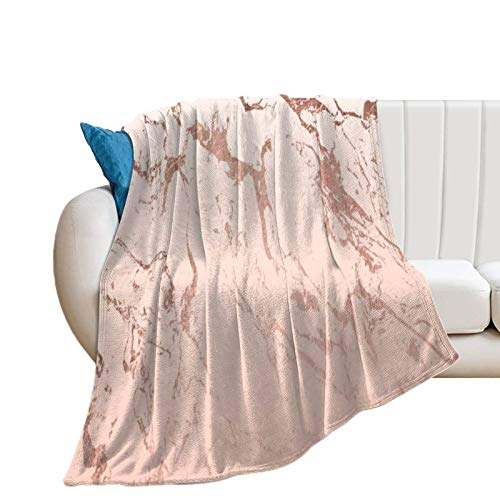 Donghouse Blanket Pink Blush White Ombre Gradient Rose Gold Marble Flannel Blanket Comfort Velvet Touch Ultra Plush, Novelty Soft Throw Blankets fit Couch Sofa Bedspread Coverlet Bed Cover 50' X 60'