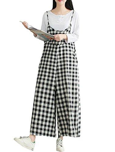 MatchLife Damen Breite Beine Hosen Loose Denim Jeans Jumpsuit Latzhose Overalls Style15 Größe 36-44