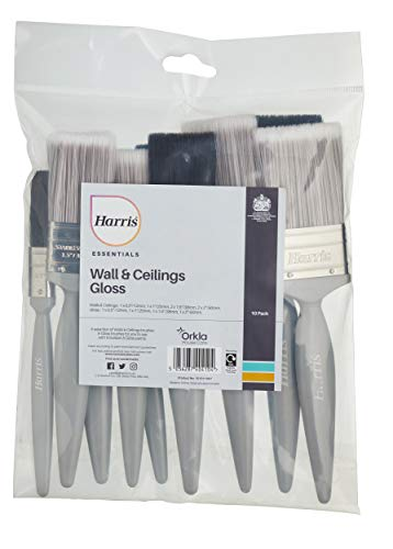 Harris Essentials Paredes y techos y carpintería Paquete de 10, 0, 1 x 1,5, 1 x 2 Brillante, 1 x 0,5, 1 x 1, 2 x 1,5, 2 x 2 Pinceles de emulsión