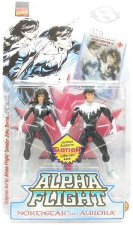 Northstar and Aurora Action Figures - Marvel Comics Collector Edition Alpha Flight - Includes Exclusive Motion Collectors Card  by Toy Biz, Inc. (English Manual) B000UGZBH6 Bekannt für seine schöne Qualität  | Feine Verarbeitung