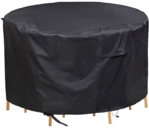 Garden Furniture Cover, Chusstang Round Garden Table Cover, Circular Outdoor Patio Set Cover 420D Heavy Duty Protection Waterproof Windproof Weatherproof&Anti-UV Patio Circular Table Cover (Ø180x90cm)