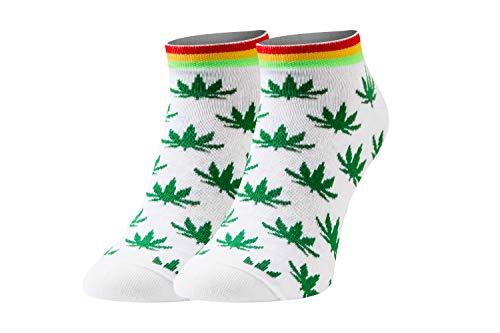 Sesto Senso Calcetines Cortos Divertidos Hombre Mujer 1-3 Pares Algodón Funny Socks 39-42 Hojas de Marihuana