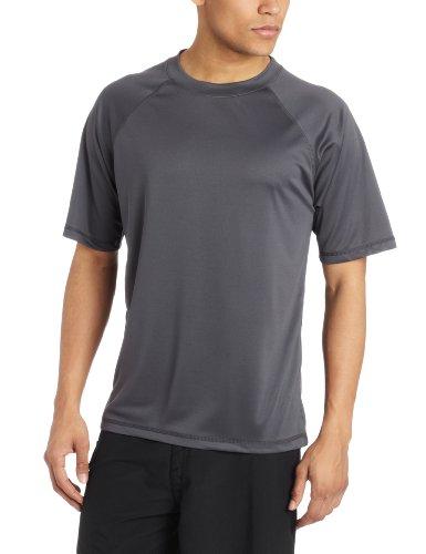 Kanu Surf Men's Short Sleeve UPF 50+ Swim Shirt (Regular & Extended Sizes), Charcoal, X-Large