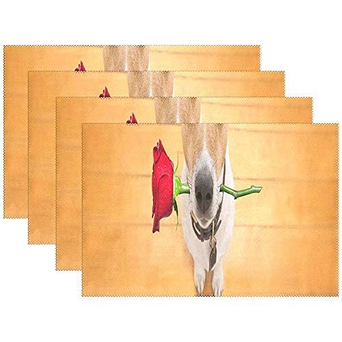 Día De San Valentín Jack Russell Perro Con Manteles De Flores De Rosa Manteles Resistentes Al Calor Esteras De Mesa Manteles Individuales Para Cocina Cafetería Restaurante Comedor,Set Of 6,12X18 In/30x45 CM