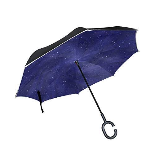 Rode kapstok omgedraaid dubbele laag winddicht voor buiten regen met greep in C-vorm paraplu sterrenhemel