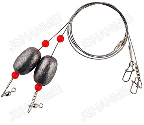 JSHANMEI Fishing Weights Sinker Connector Swivel Snap Stainless Steel Fishing Leader Line Wire Rig Saltwater Egg Rigs (Pack of 10) (0.75oz / 21g)