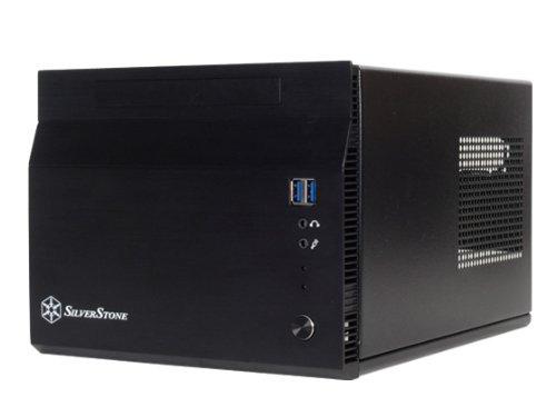 SilverStone Technology Micro-ATX/Mini-ITX/Mini-DTX Computergehäuse mit integriertem Lenkergehäuse Schwarz (SG06-LITE)