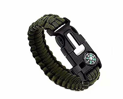 Bracelet de survie Multifonctionnel Extérieur Paracord Équipement de survie Corde de parachute Silex Feu Starter Scraper Compass Sifflet