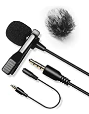 Nicama LVM3 Lavalier Microphone with 1 Windscreen Muff, 20FT Cable Omnidirectional Condenser Lapel Mic Compatible with Smartphone iPhone 5 6 7 8 X, DSLR Camera Canon Nikon Sony,Camcorder, iPad Computer Zoom