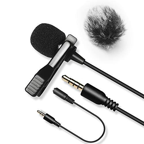 6M Microfono Lavalier con Pelliccia Parabrezza, Nicama LVM3 Microfono a Condensatore per Fotocamera Canon Nikon Sony Videocamera Registratori Audio Smartphone iPhone iPad PC