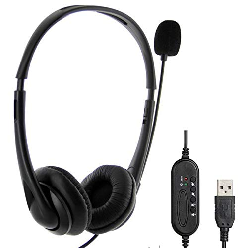 Great Price! HelloCreate Wired Headphone, USB Headset Wired Headphone with Microphone for Laptop Des...