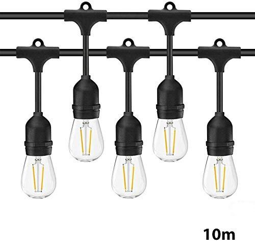 Guirnalda Luces Exterior 10m IP65 Impermeable Cadena de Luz iluminación, 9 LED Bombilla de Filamento E27 Guirnalda Luminosa para Jardín Boda Fiesta de Navidad
