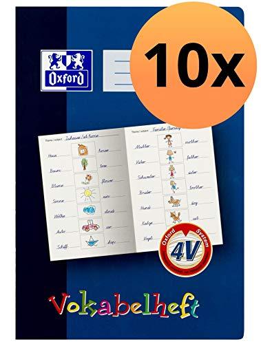 Oxford 100057955 Vokabelheft mit Lernsystem 10er Pack Format A4 16 Blatt Lineatur 4V Grundschule für 4. Klasse