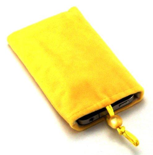 Funda para LG KP501 Cookies de lujo con forro de fibra y cordón para teléfono móvil 'Desire', color amarillo