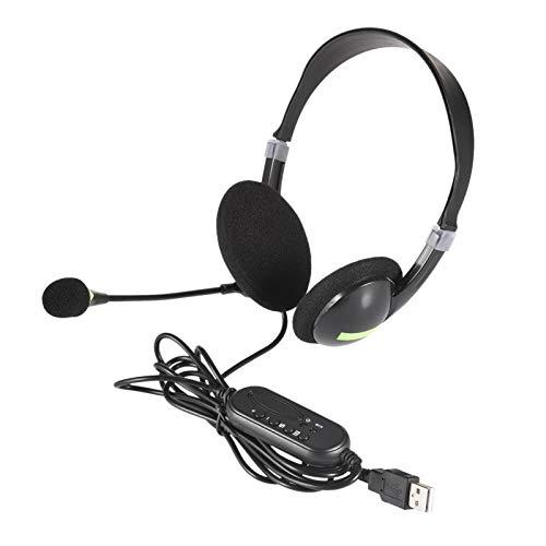 Facynde Auriculares USB Auriculares Ligeros y cómodos con micrófono Flexible Voz más Clara y ultraconfort Universal para Ordenadores Portátiles PC