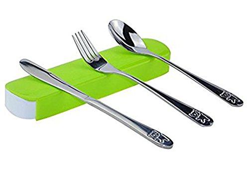 SwirlColor 3 Stück beweglicher Edelstahl Reusable Besteck Löffel-Gabel-Messer-Reisen Geschirr Set mit grünem Kasten