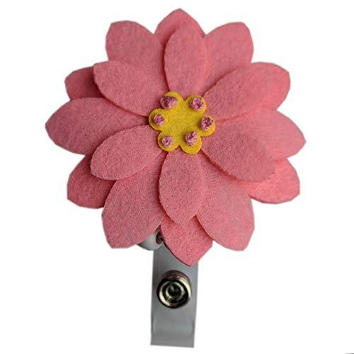 Flower Nurse Badge Reel Holder Retractable Badge Clip ID Badge Holder Cute Flower Gerbera (Pink)
