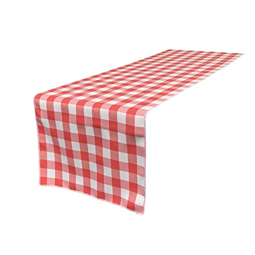 LA Linen Poly Checkered Table Runner, 14 by 108-Inch, Coral/White