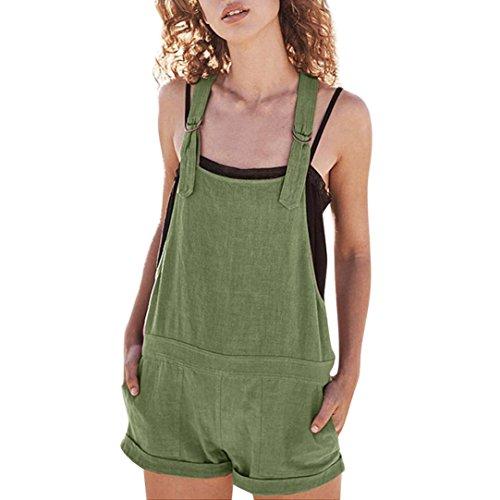 Amphia Damen Overall Kurz Elastische Taille Latzhosen Leinen Baumwolle Taschen Strampler Playsuit Shorts Hosen, Grün, XL
