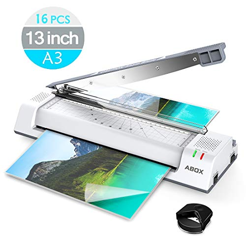 ABOX Laminator, 13 Inch Thermal Laminatir Machine OL381 for A3/A4/A6, with Paper Cutter, Corner Rounder, 16 Laminating Pouches