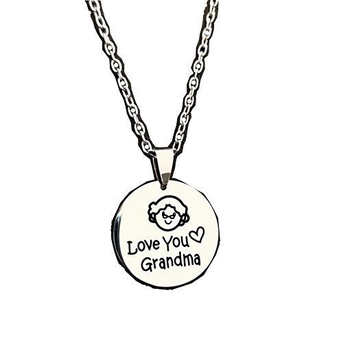 lifBetter Collar con colgante en forma de corazón de la abuela de amor collar de cadena de acero inoxidable regalo del día de la madre de nieto