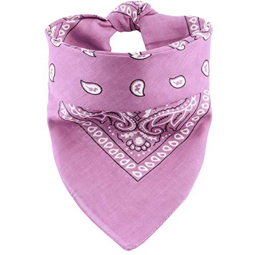Oramics Bandana Koptuch Halstuch – 55 x 55 cm, gemustert: Paisley Muster – in verschiedenen Farben aus 100% Baumwolle, modernes Nikituch gegen Wind und Kälte (Rosa)