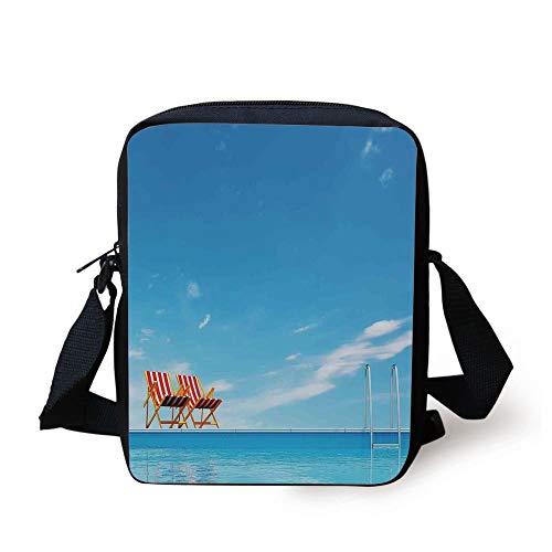 House Decor,Swimming Pool with Beach Chairs Armchair Sunlight Outdoors Waterscape Sunbathe, Print Kids Crossbody Messenger Bag Purse
